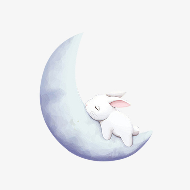 White on the moon. Beautiful clipart rabbit