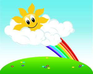 Sunny clipart spring day. Rainbow image rainbows the