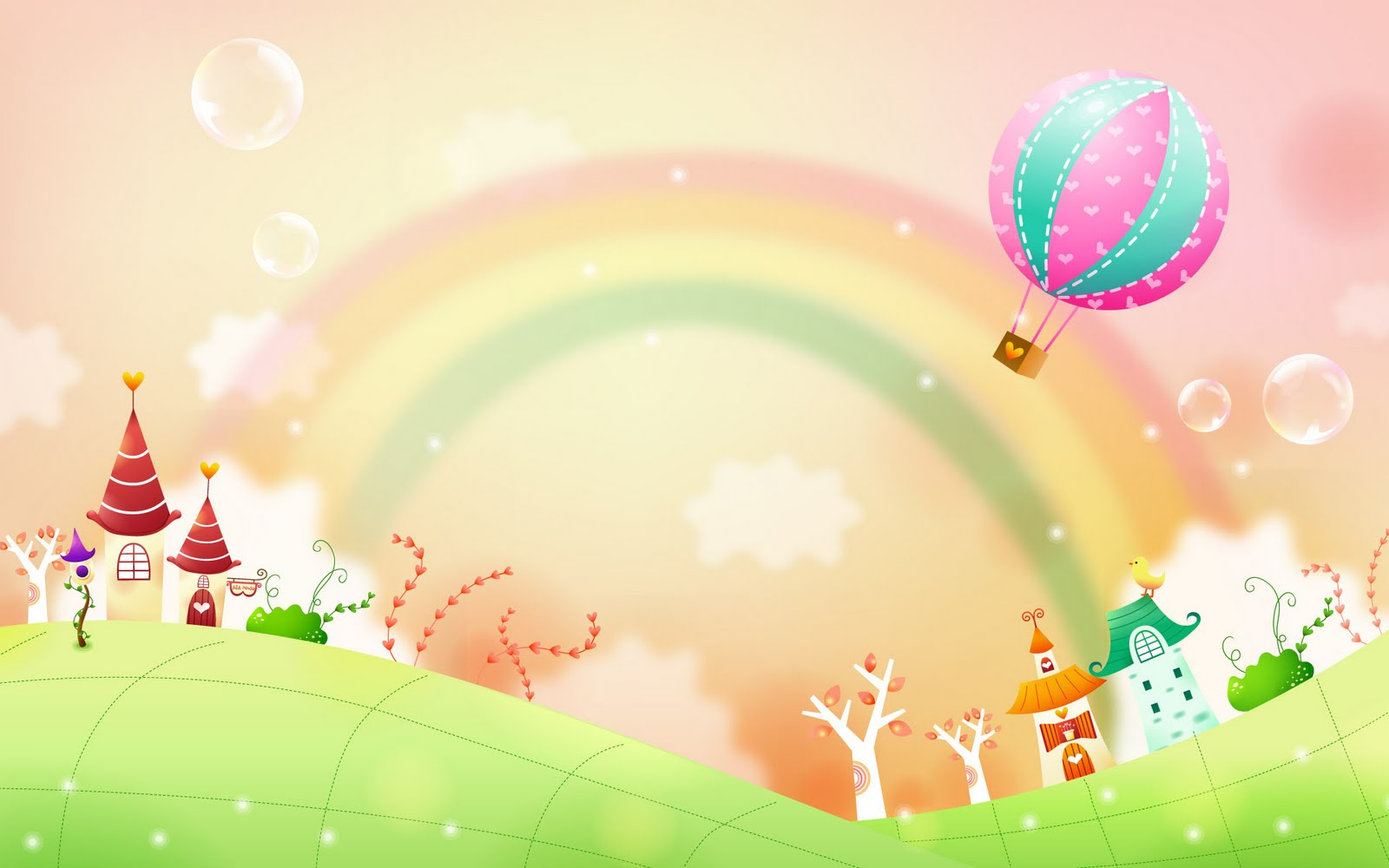 Garden with background station. Beautiful clipart rainbow
