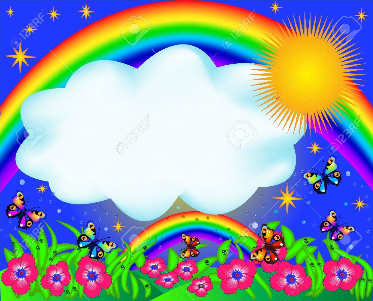 Beautiful clipart rainbow. Garden with background station