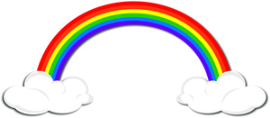 Image with puffy clouds. Beautiful clipart rainbow