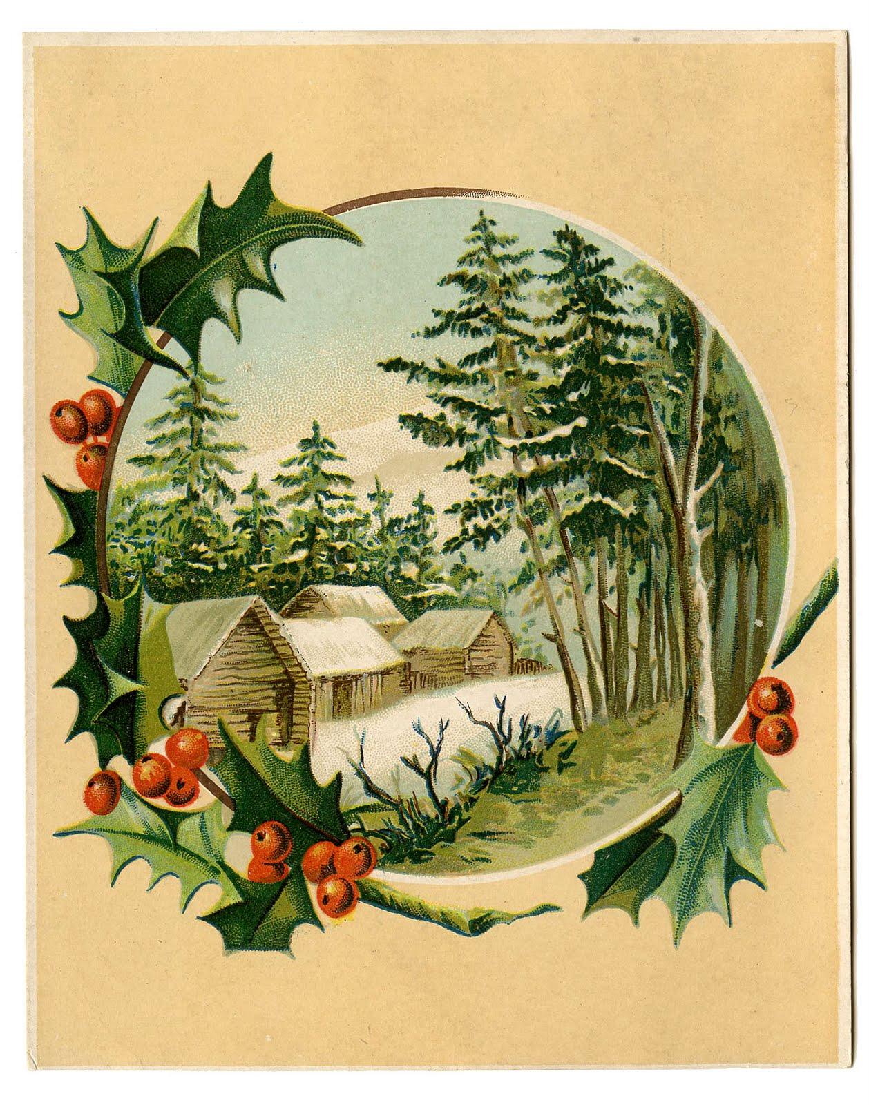 Vintage christmas clip art. Beautiful clipart scene