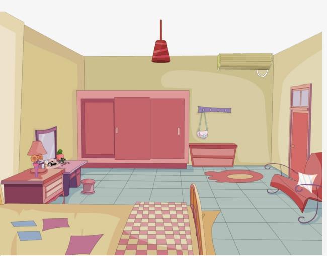 Beautiful clipart scene. Bedroom interior scenes indoor
