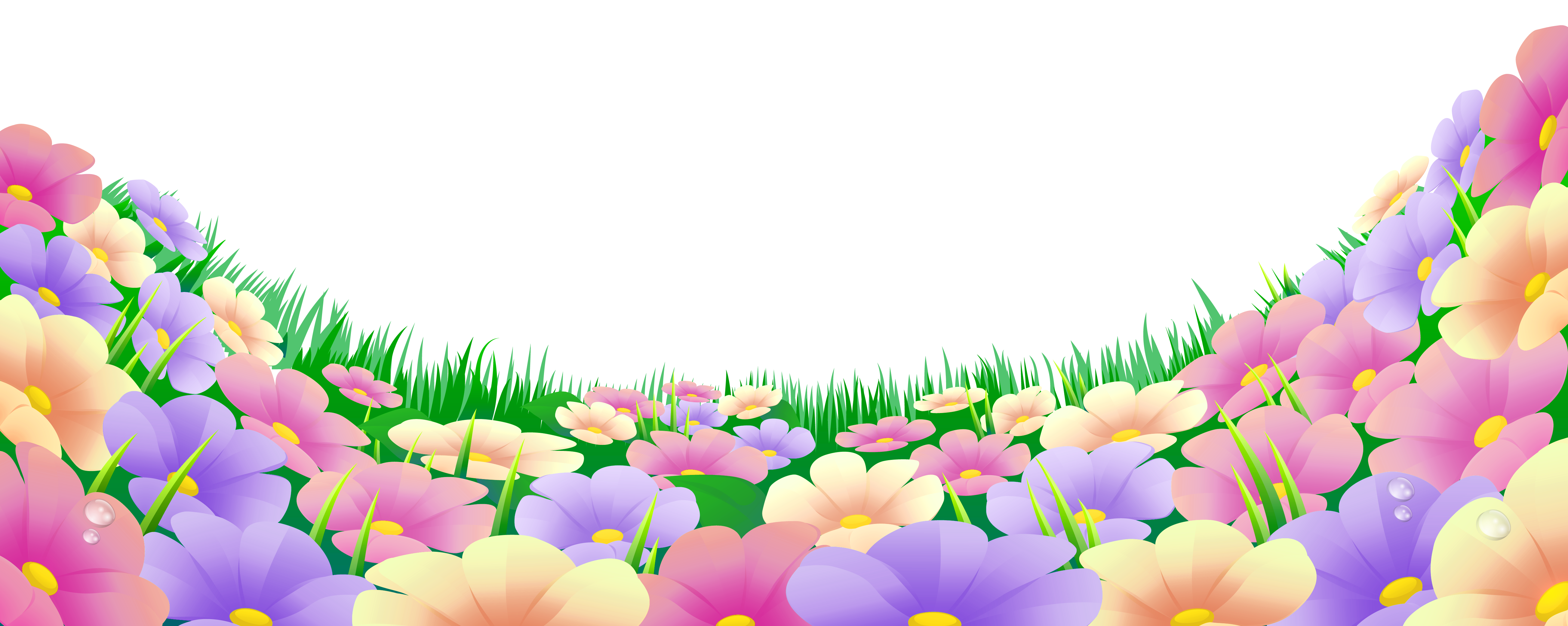 Grass with flowers png. Hills clipart beautiful fence