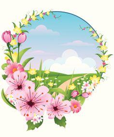 Vector cartoon illustration of. Beautiful clipart spring