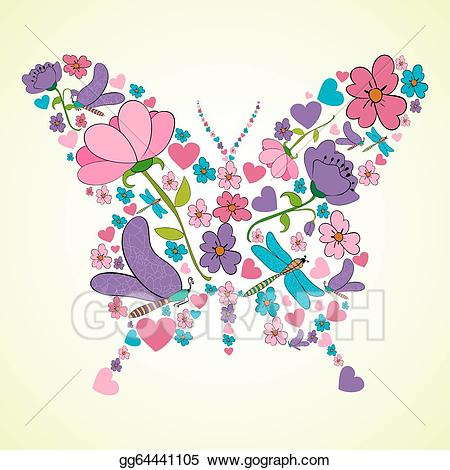 Beautiful clipart spring. Vector art flowers butterfly