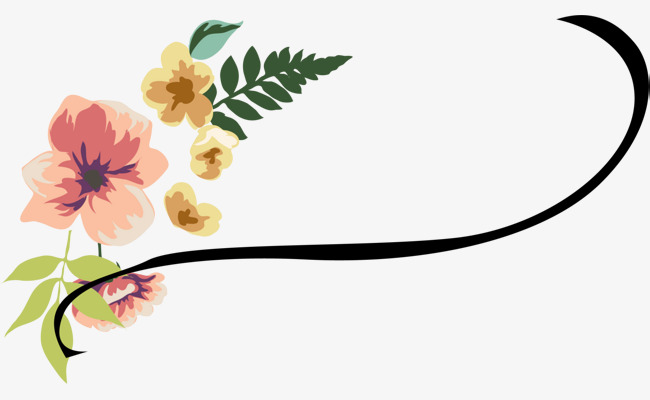 Beautiful clipart vine. Colorful flowers black green
