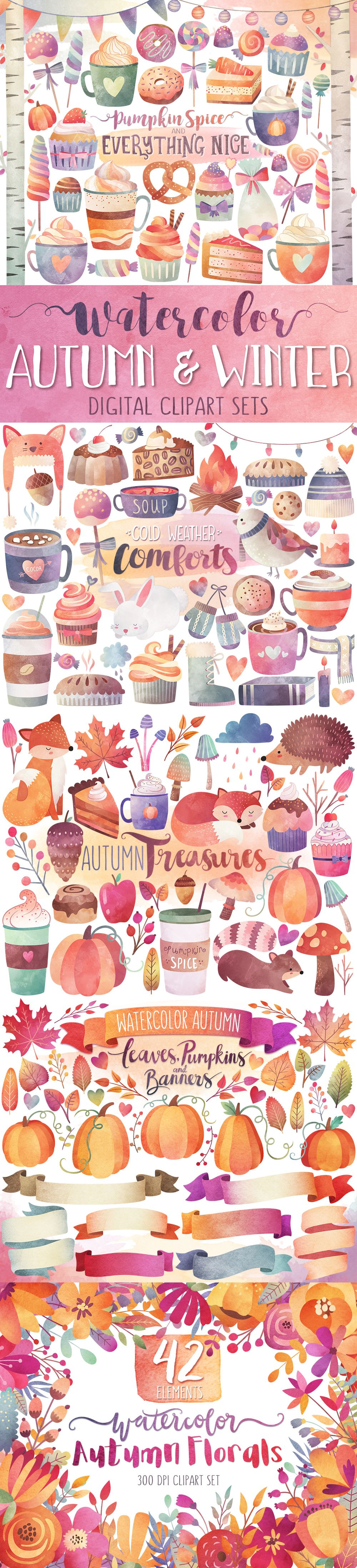 Autumn watercolor sets only. Beautiful clipart winter