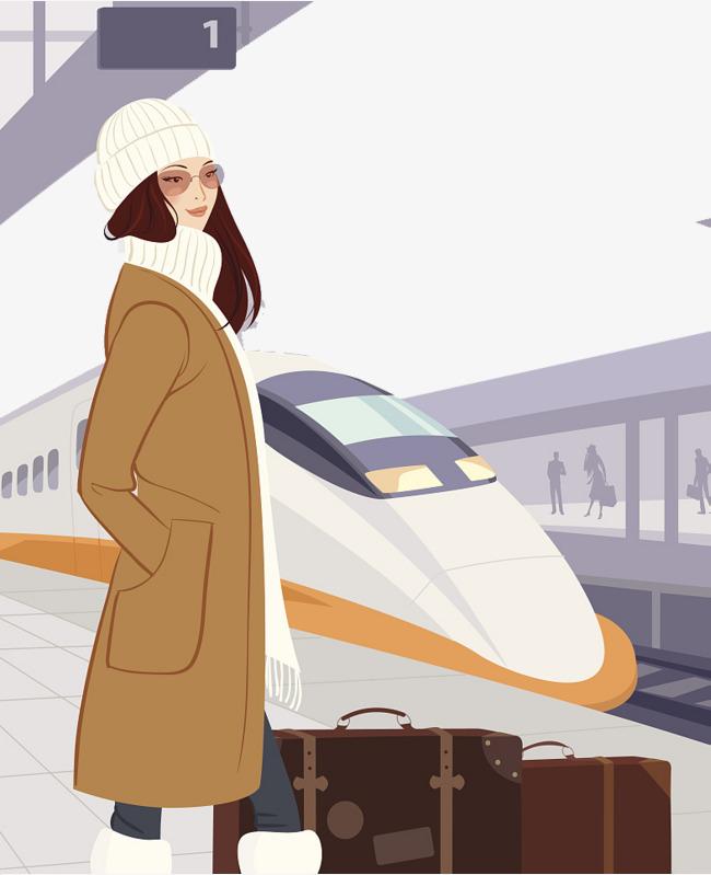 Beautiful clipart winter. Fashion illustration railway station