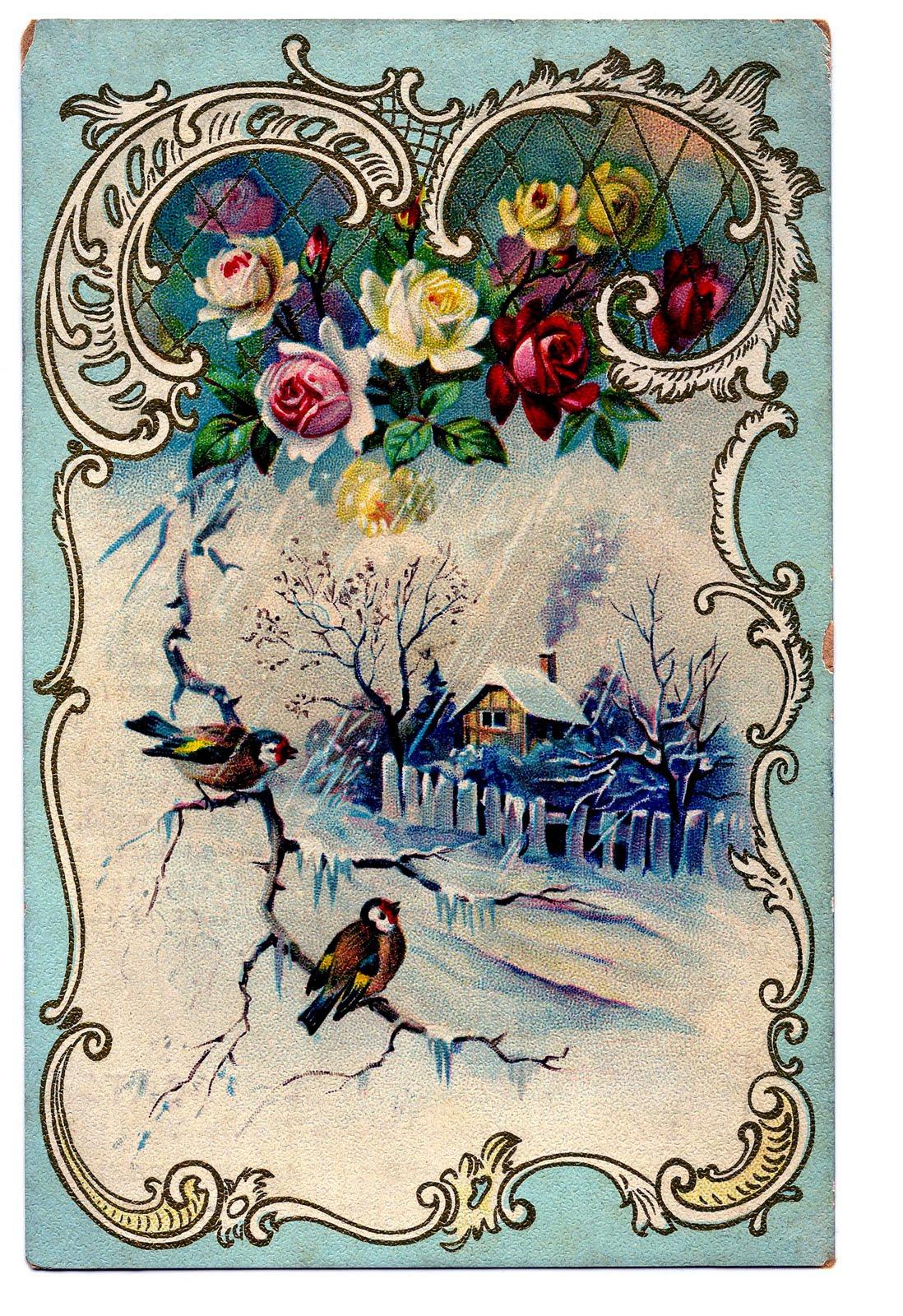 Victorian clip art scene. Beautiful clipart winter