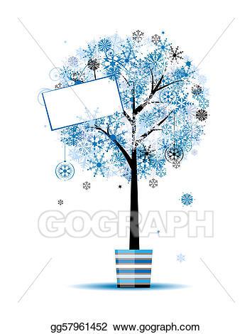 Vector illustration tree in. Beautiful clipart winter