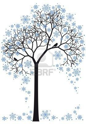 Beautiful clipart winter. Tree with snowflakes background