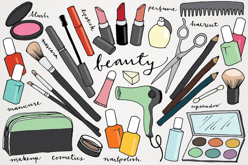 Makeup hand drawn clip. Beauty clipart