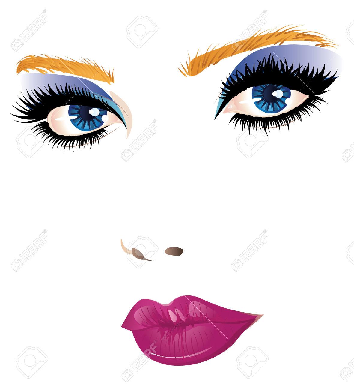 Model makeup girl panda. Beauty clipart beauty face