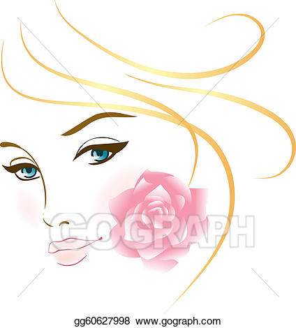 Vector illustration girl portrait. Beauty clipart beauty face