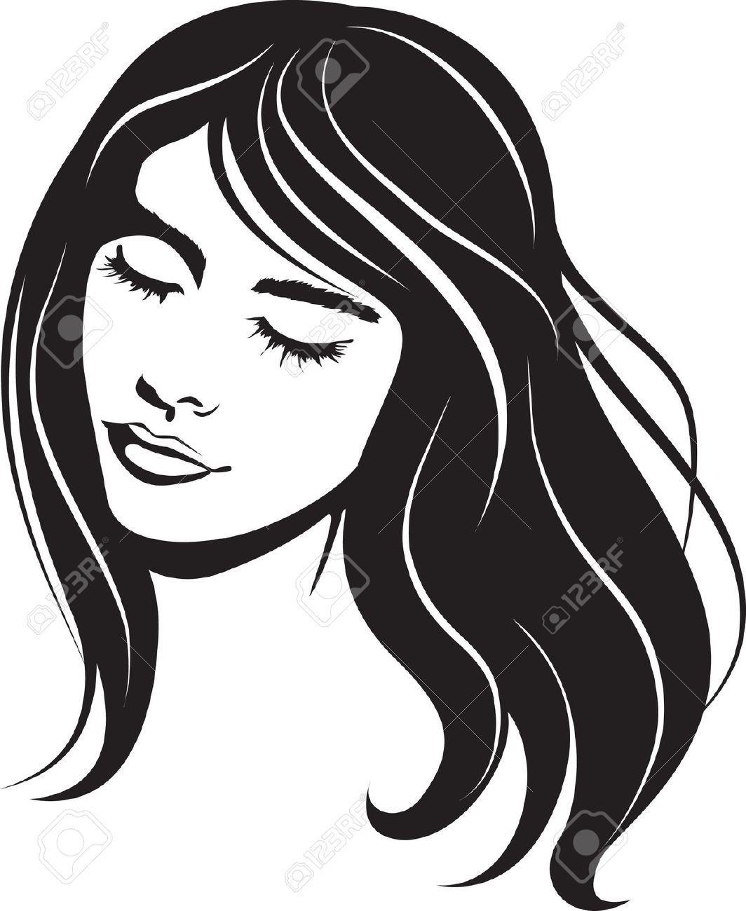 Beauty clipart beauty face. Vector girl portrait clip