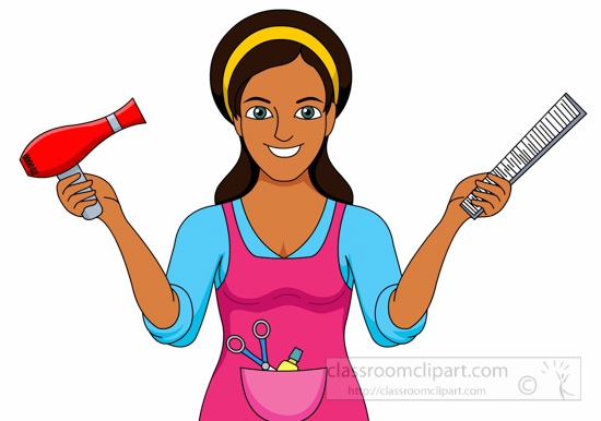 Cosmetics hairdressor holding comb. Beauty clipart beauty school
