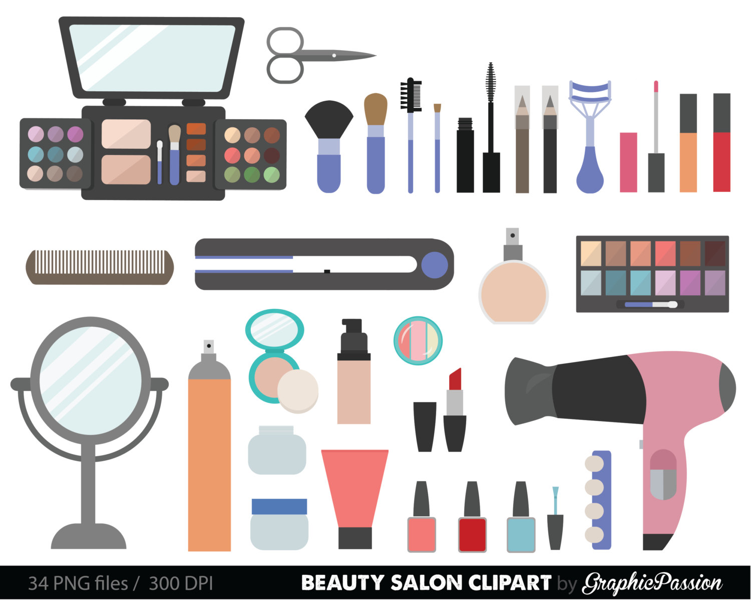 Collection digital cosmetic girly. Beauty clipart beauty supply