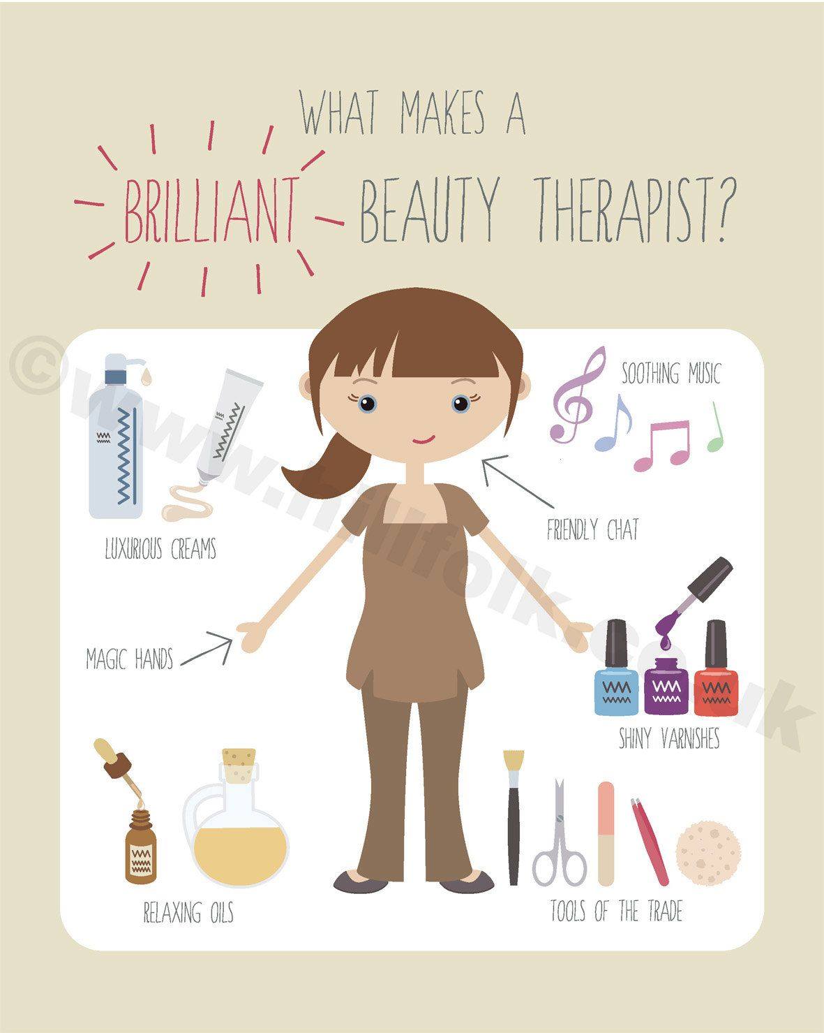 Beauty clipart beauty therapist. Art print instant download