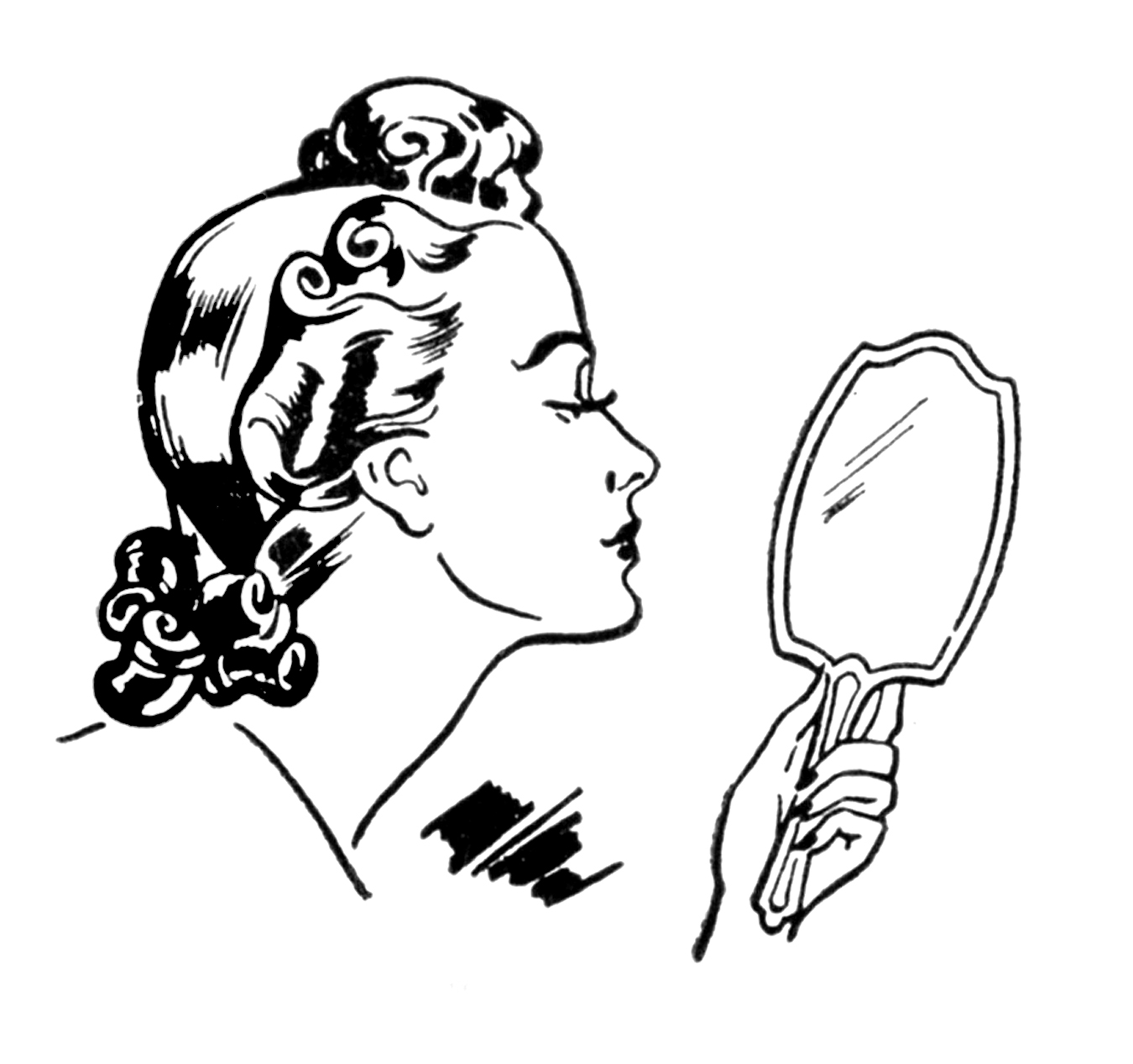 Beauty clipart black and white. Retro ladies a day