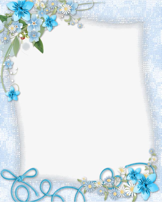 Beauty clipart border. Beautiful light blue flowers