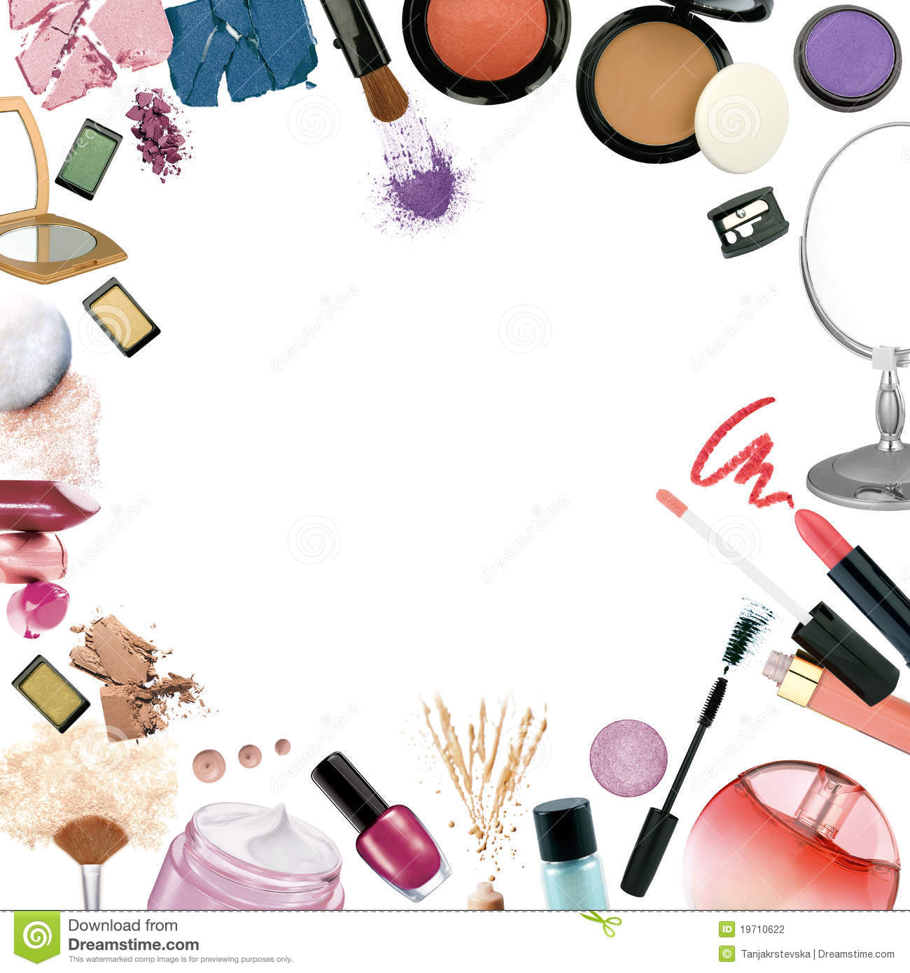 Makeup pencil and in. Beauty clipart border