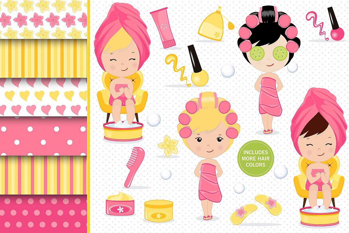 Beauty clipart day. Spa illustrations girl graphics
