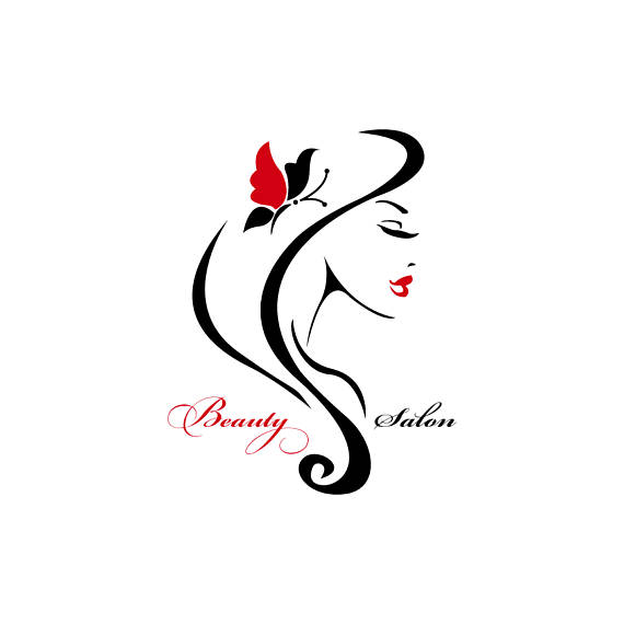 Logo design woman hairstylist. Beauty clipart feminine