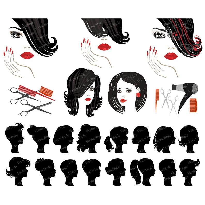 Clip art salon logo. Beauty clipart hair design