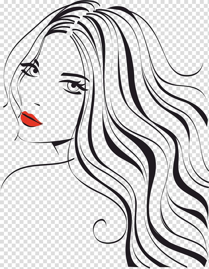 With red lips illustration. Cosmetology clipart beautiful woman