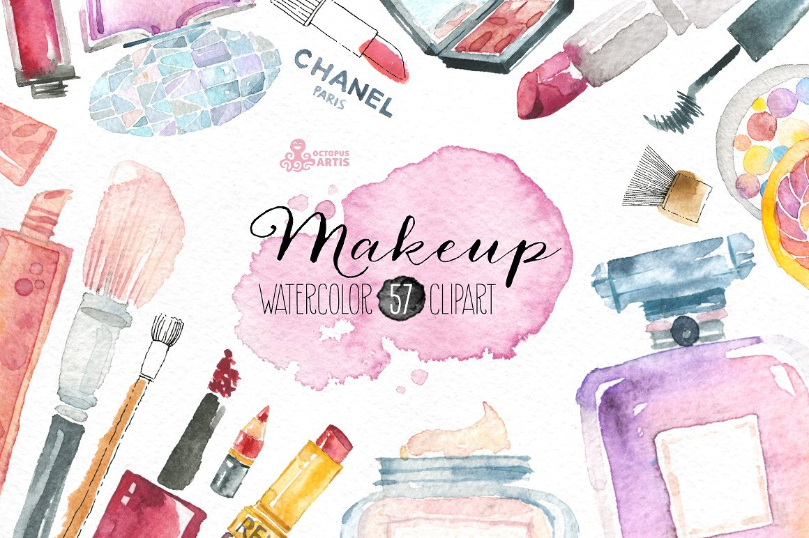 Beauty clipart illustration. Makeup cosmetics illustrations creative