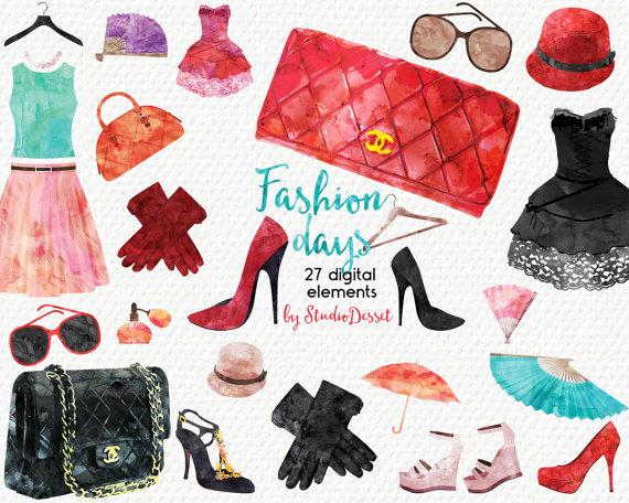 Fashion cliparts watercolor illustrations. Beauty clipart illustration