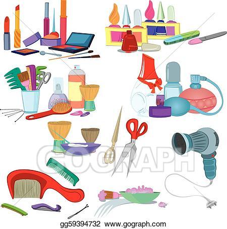 Vector stock salon brushes. Beauty clipart illustration