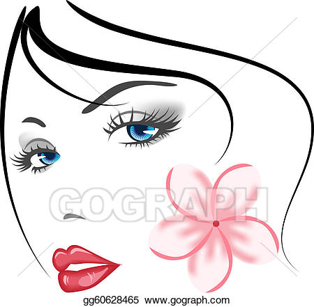 Eps face girl vector. Beauty clipart illustration