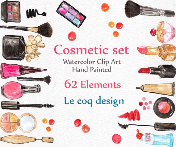Beauty clipart item. Watercolor makeup cosmetic clip