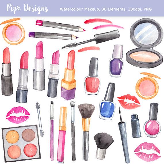 Watercolor makeup planner make. Beauty clipart item