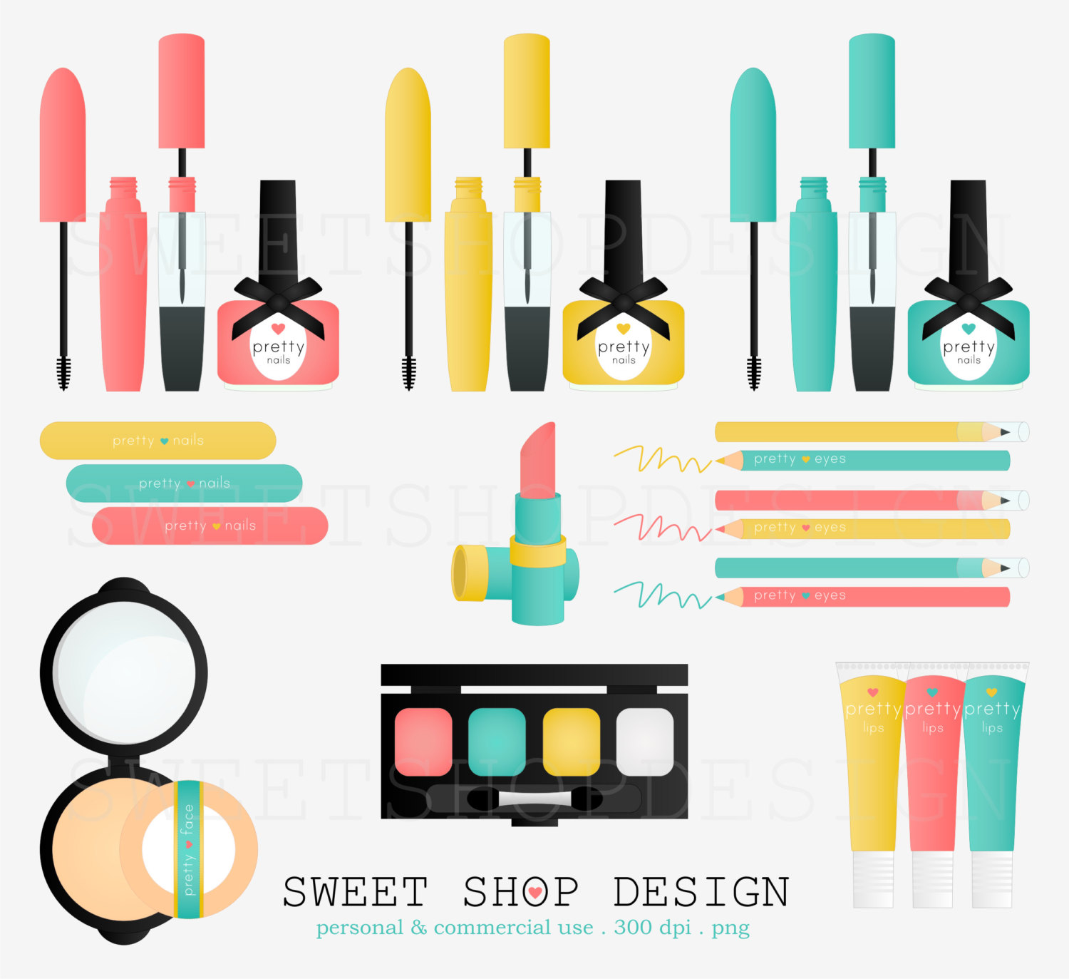 Cosmetology clipart makeup item. Pretty things clip art