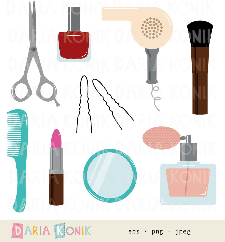 Beauty clipart item. Utensils clip art set
