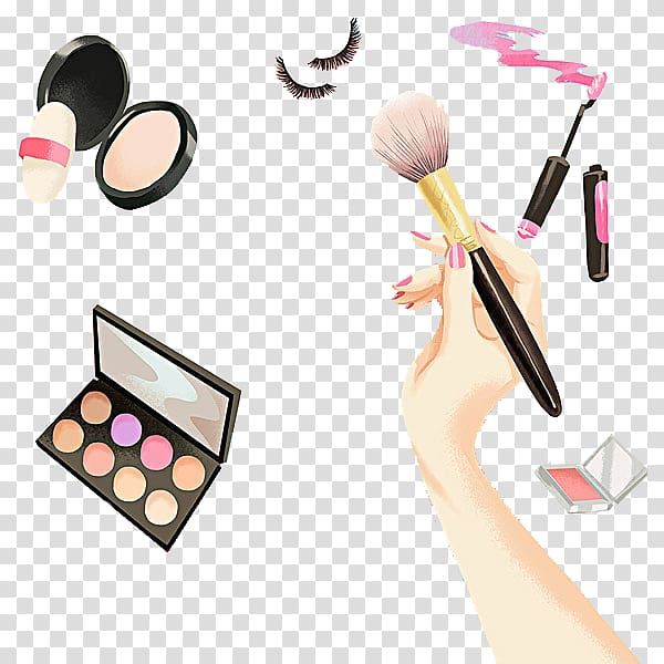 Assorted color makeup brush. Beauty clipart item