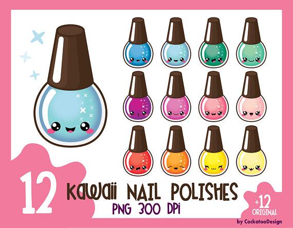off nail polish. Beauty clipart kawaii