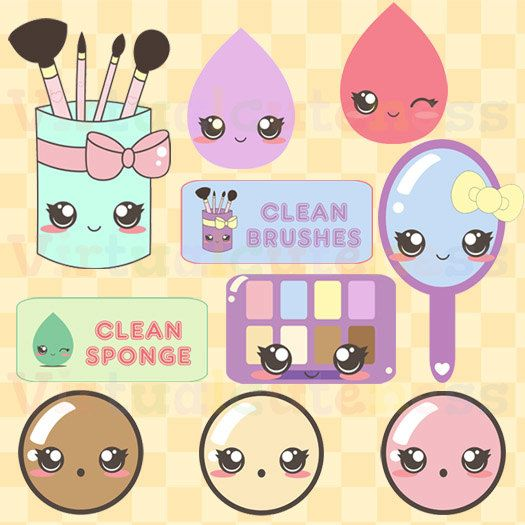 Makeup cute brushes products. Beauty clipart kawaii