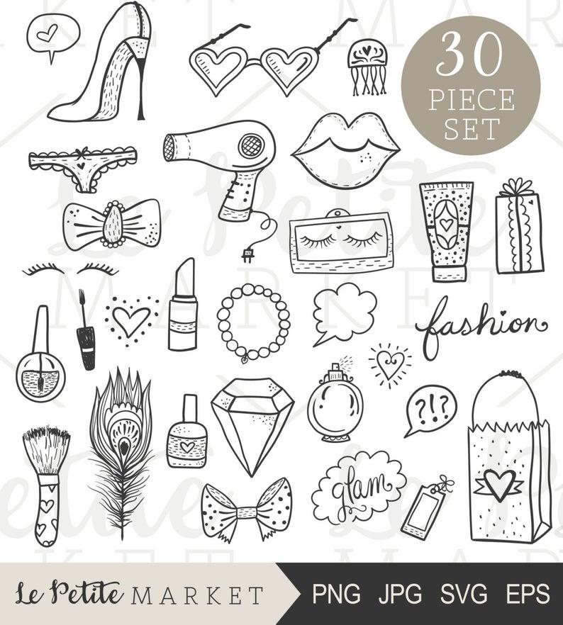 Hand drawn clip set. Beauty clipart line art