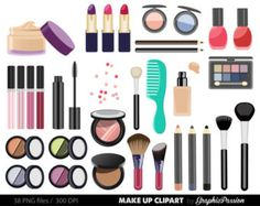 Collection digital cosmetic girly. Beauty clipart makeup