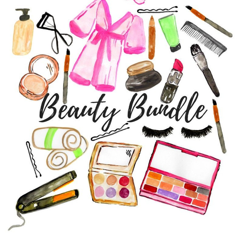 Watercolor and set cosmetic. Beauty clipart makeup