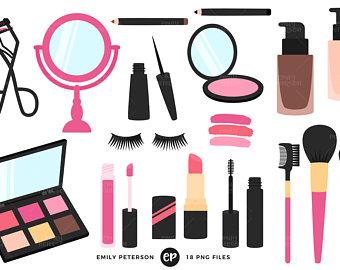 Beauty clipart makeup. Clip art etsy girly