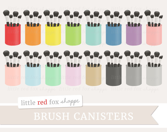 Makeup canister clip art. Brush clipart cute