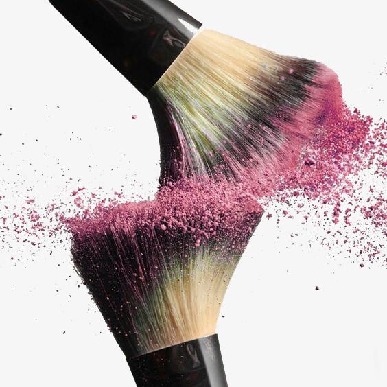 Beauty clipart makeup brush. Blush pink splash collision