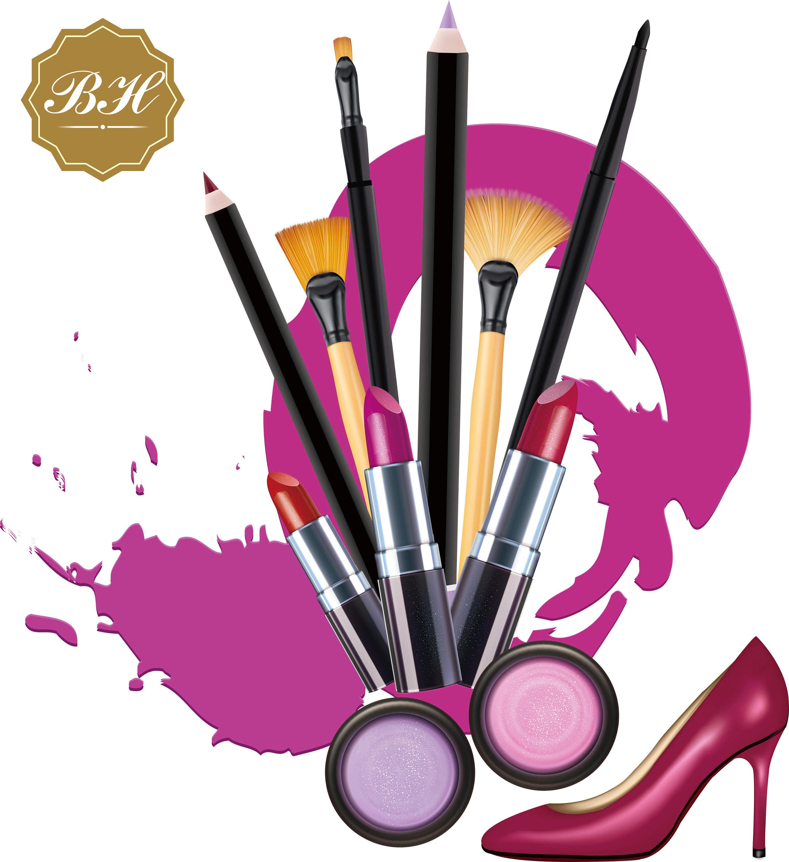 Cosmetics lipstic digital download. Beauty clipart makeup brush