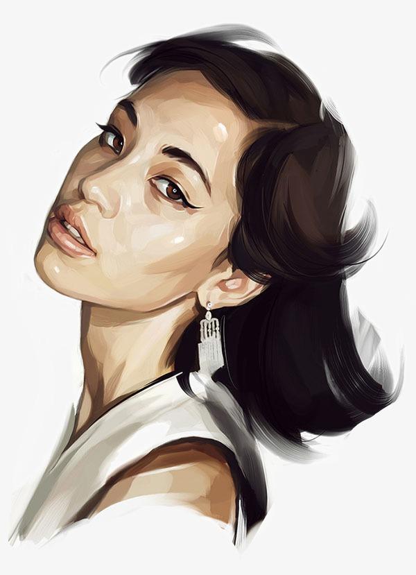 Beauty clipart portrait. Beautiful hand drawn illustration
