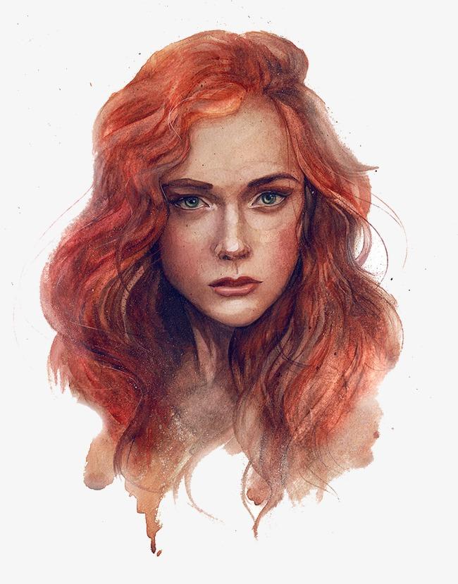 Beauty clipart portrait. Redhead european of png